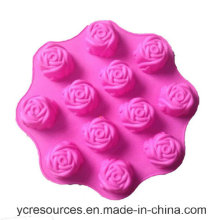 12 Even of Piece, Rose Design Cake Mould, Silicone